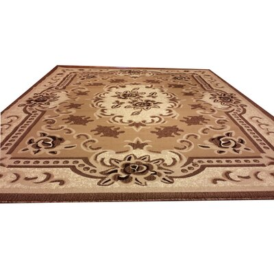 Hand-Carved Beige Area Rug Rug Size: Rectangle 711 x 910