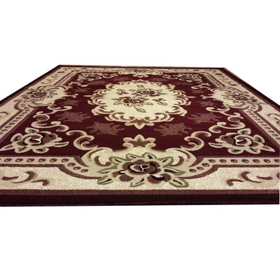 Hand-Carved Beige/Red Area Rug Rug Size: Rectangle 711 x 910