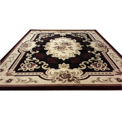 Hand-Carved Red/Beige Area Rug Rug Size: Round 8
