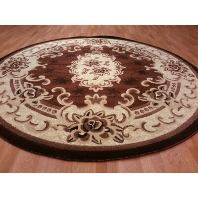 Hand-Carved Brown/Beige Area Rug Rug Size: Round 8