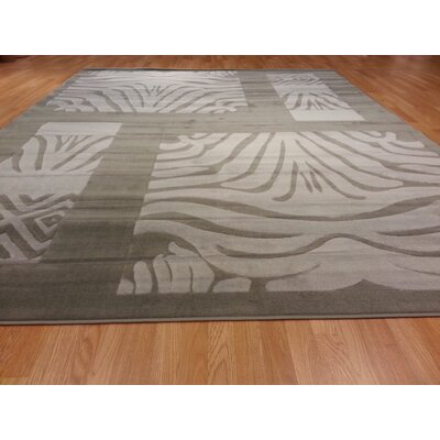 Hand-Carved Gray Area Rug Rug Size: Rectangle 4 x 6
