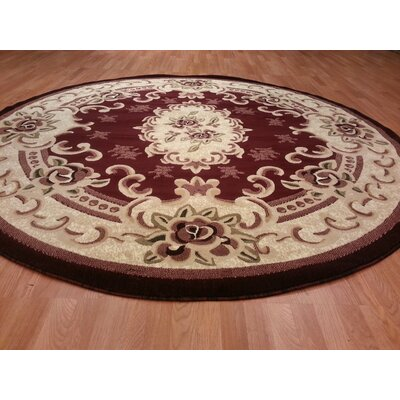 Hand-Carved Beige/Red Area Rug Rug Size: Round 8'