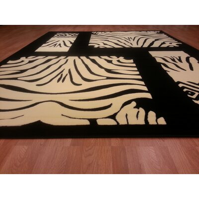 Hand-Carved Black / White Area Rug Rug Size: Rectangle 53 x 72