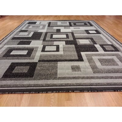 Hand-Carved Gray Area Rug Rug Size: 711 x 910