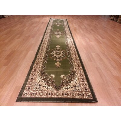 Hand-Carved Green/Beige Area Rug Rug Size: Runner 27 x 91
