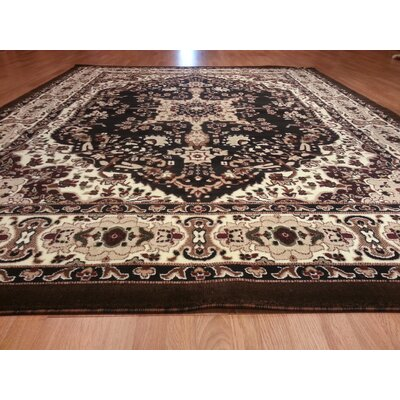 Hand-Carved Black Area Rug Rug Size: Rectangle 4 x 6
