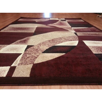 Hand-Woven Burgundy Area Rug Rug Size: Rectangle 53 x 72