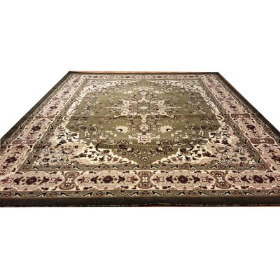 Hand-Carved Green/Beige Area Rug Rug Size: 53 x 72