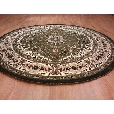 Hand-Carved Green/Beige Area Rug Rug Size: Round 8