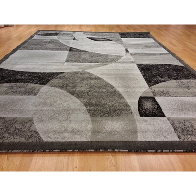 Hand-Carved Gray Area Rug Rug Size: 10 x 13