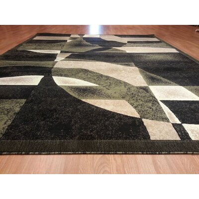 Hand-Carved Green Area Rug Rug Size: 4 x 6