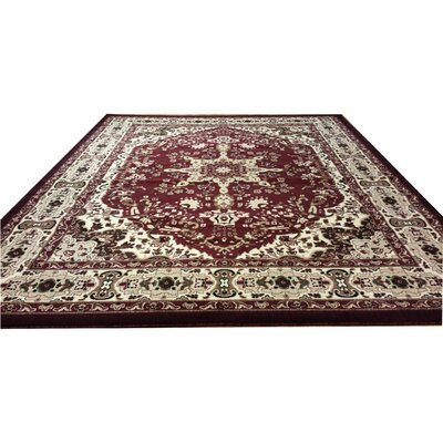Hand-Carved Red Area Rug Rug Size: Rectangle 3 x 5