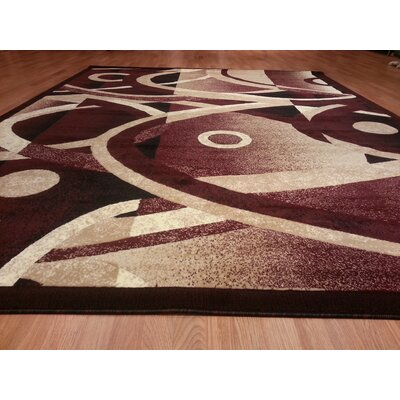 Hand-Carved Red Area Rug Rug Size: 53 x 72