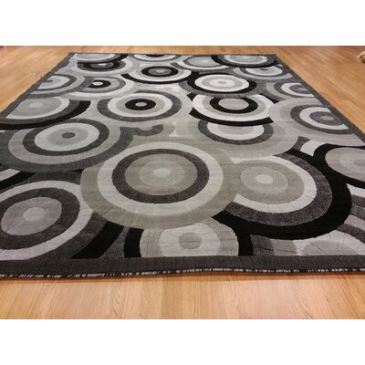 Hand-Carved Gray Area Rug Rug Size: 53 x 72