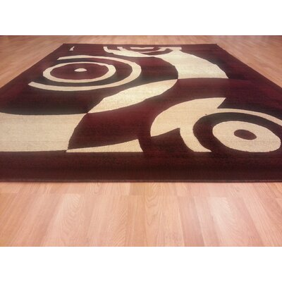 Hand-Carved Red Area Rug Rug Size: 711 x 910