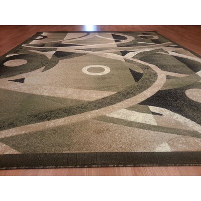 Hand-Carved Green Area Rug Rug Size: Rectangle 53 x 72