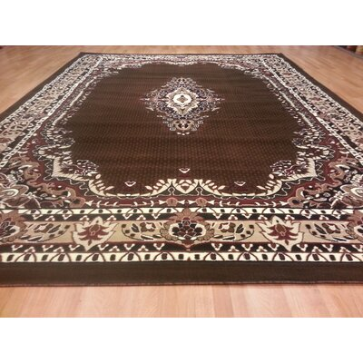 Hand-Carved Brown Area Rug Rug Size: Rectangle 4 x 6