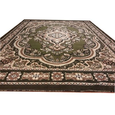 Hand-Carved Green Area Rug Rug Size: Rectangle 10 x 13