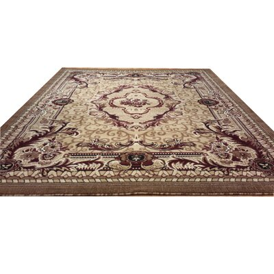 Hand-Carved Beige Area Rug Rug Size: Round 8