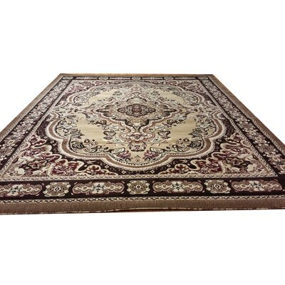 Hand-Carved Beige/Brown Area Rug Rug Size: Round 8