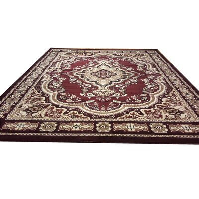 Hand-Carved Red Area Rug Rug Size: 4 x 6