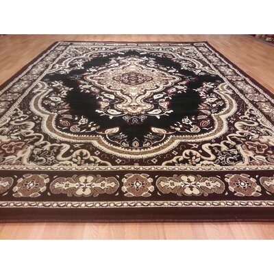 Hand-Carved Black/Brown Area Rug Rug Size: 53 x 72