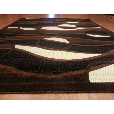 Hand-Carved Black/Brown Area Rug Rug Size: Round 8