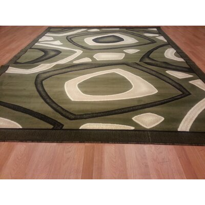 Hand-Carved Green Area Rug Rug Size: Rectangle 4 x 6
