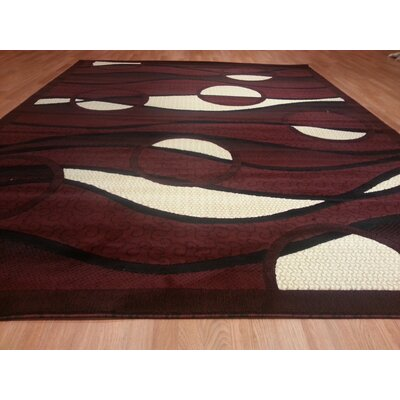 Hand-Carved Red Area Rug Rug Size: Rectangle 4 x 6