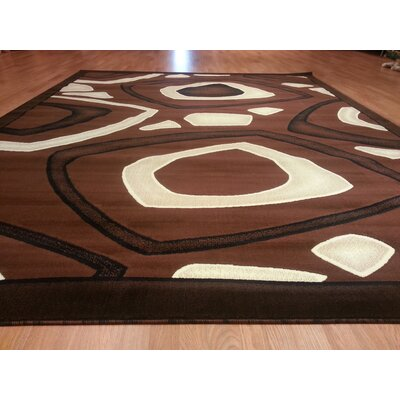 Hand-Carved Brown Area Rug Rug Size: 711 x 910