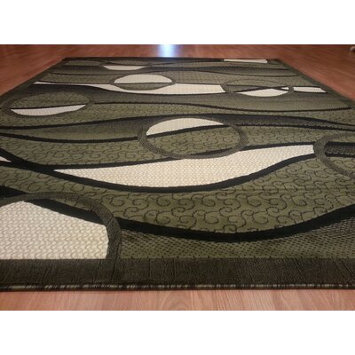 Hand-Carved Green Area Rug Rug Size: 711 x 910