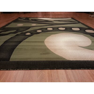 Hand-Carved Green Area Rug Rug Size: 3 x 5