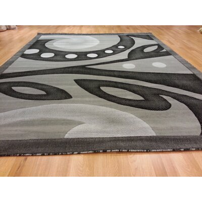 Hand-Carved Gray Area Rug Rug Size: Round 8