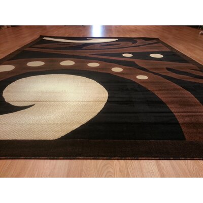 Hand-Carved Black/Brown Area Rug Rug Size: Rectangle 4 x 6
