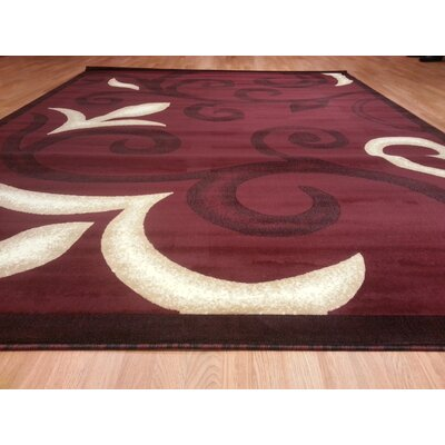 Hand-Carved Red Area Rug Rug Size: Round 8