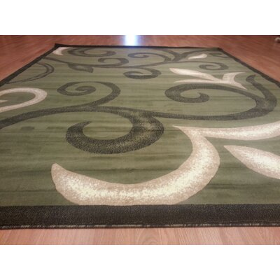 Hand-Carved Green Area Rug Rug Size: 53 x 72