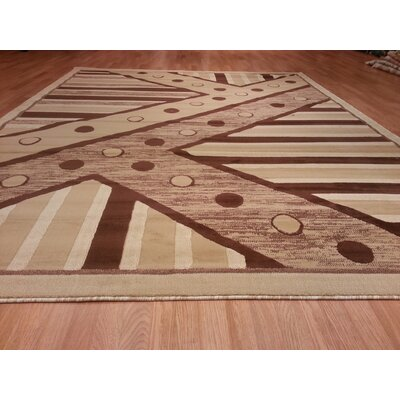 Hand-Carved Beige Area Rug Rug Size: Rectangle 53 x 72