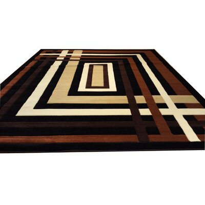 Hand-Carved Black/Brown Area Rug Rug Size: 10 x 13