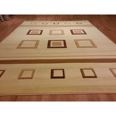 Hand-Carved Beige Area Rug Rug Size: Rectangle 4' x 6'