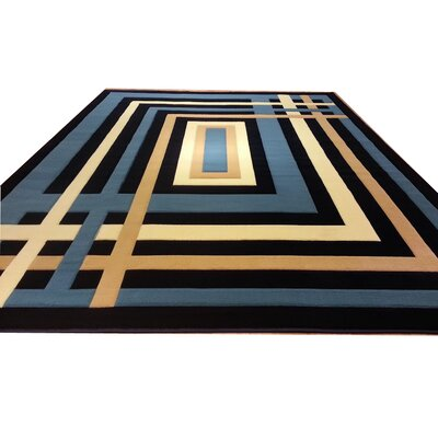 Hand-Carved Blue/Beige Area Rug Rug Size: Rectangle 53 x 72
