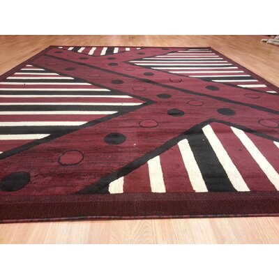 Hand-Carved Burgundy Area Rug Rug Size: 53 x 72
