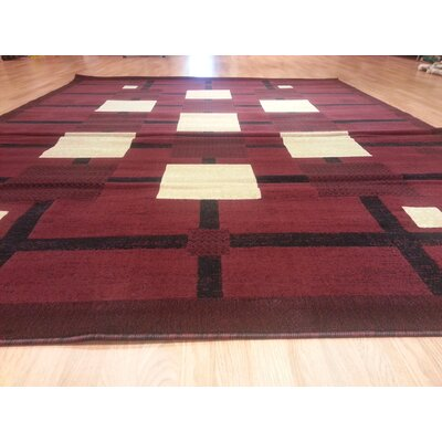 Hand-Carved Burgundy Area Rug Rug Size: 4 x 6