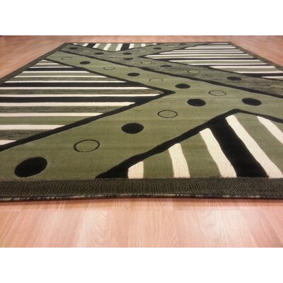 Hand-Carved Green Area Rug Rug Size: Rectangle 3 x 5