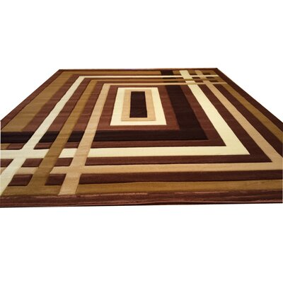 Hand-Carved Brown Area Rug Rug Size: 2 x 3