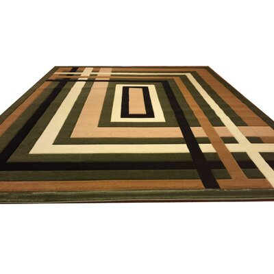 Hand-Carved Green/Black/Brown Area Rug Rug Size: 53 x 72