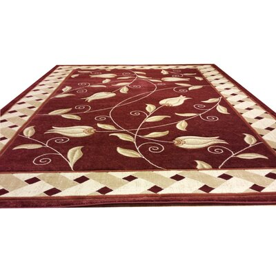 Carved Red Area Rug Rug Size: Round 8