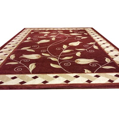 Carved Red Area Rug Rug Size: Rectangle 10 x 13