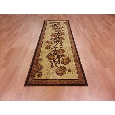Hand-Carved Brown Area Rug Rug Size: 66x99