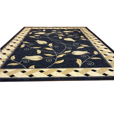 Hand-Carved Blue Area Rug Rug Size: 53 x 72