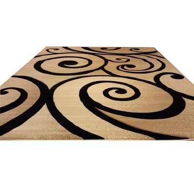 Hand-Carved Beige/Black Area Rug Rug Size: 53 x 72